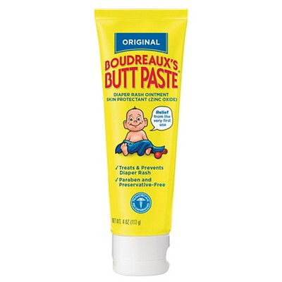 Boudreaux's Butt Paste Diaper Rash Ointment - Original - Paraben and Preservative Free, 4oz Tube
