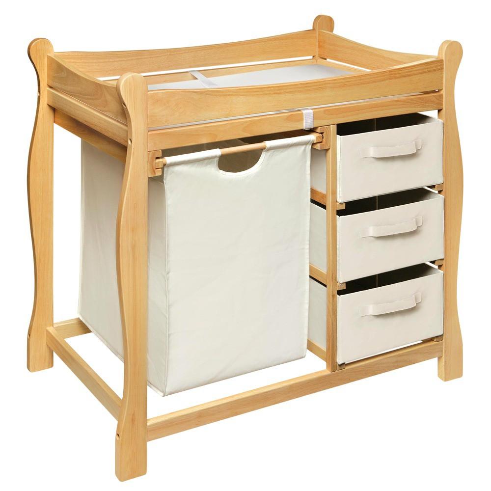 Image of Badger Basket Changing Table with Hamper and Baskets - Natural