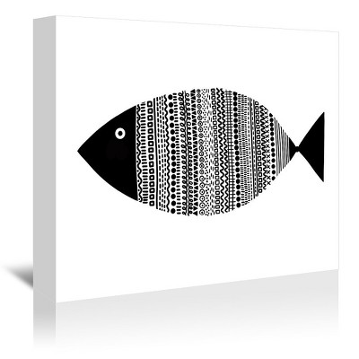 Americanflat Fish Bw by Lisa Nohren Wrapped Canvas
