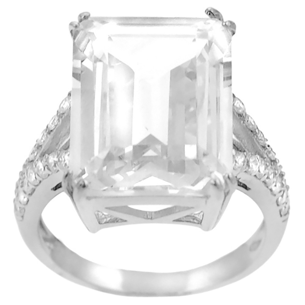1 1/3 CT. T.W. Emerald-cut Cubic Zirconia Bridal Basket Set Ring in Sterling Silver - Silver, 8
