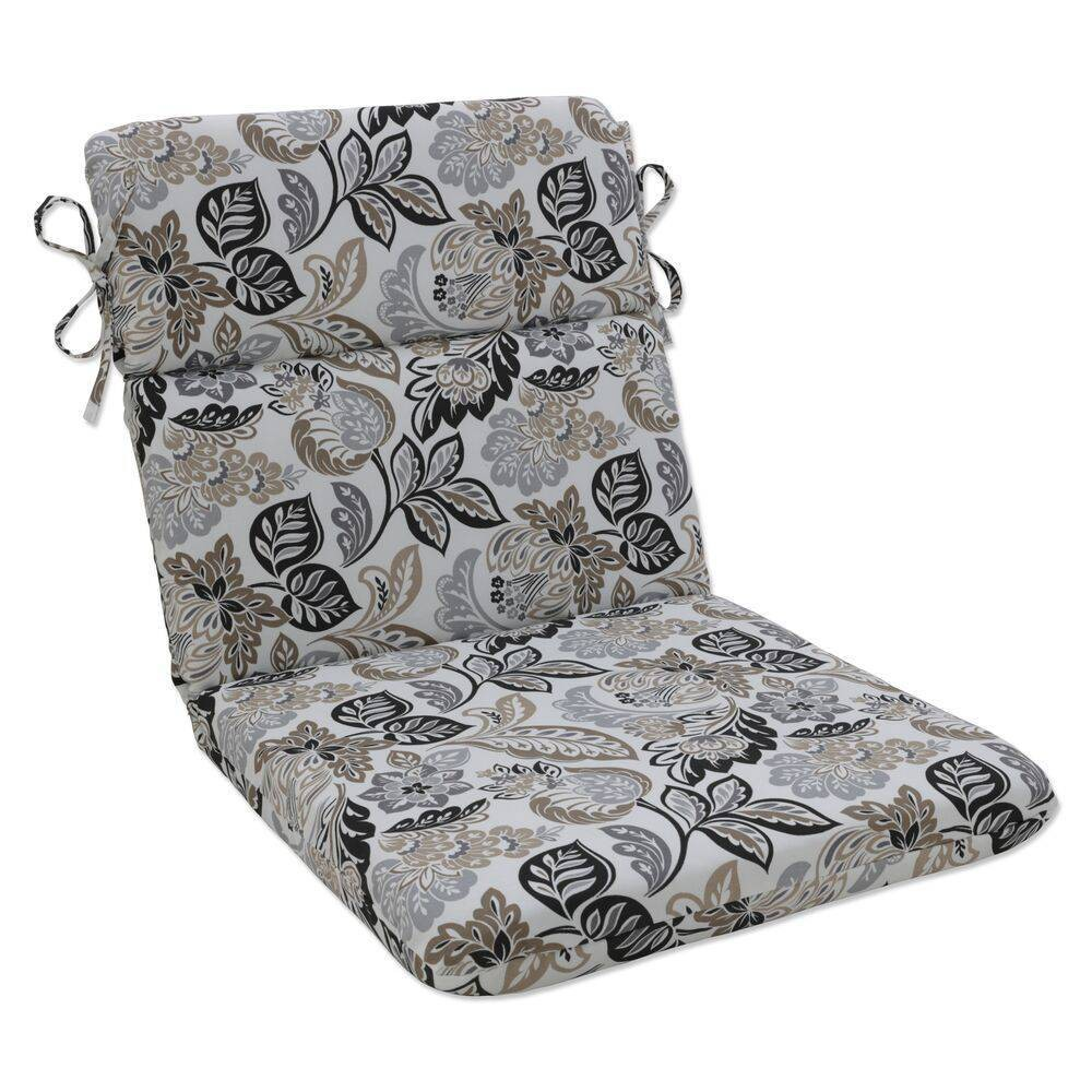 Outdoor Indoor Rounded Chair Pad Dailey Pewter Black Pillow Perfect