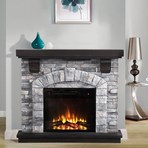 45 Freestanding Electric Fireplace Gray Home Essentials Target