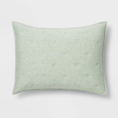 Standard Chambray Quilt Sham Green - Threshold™