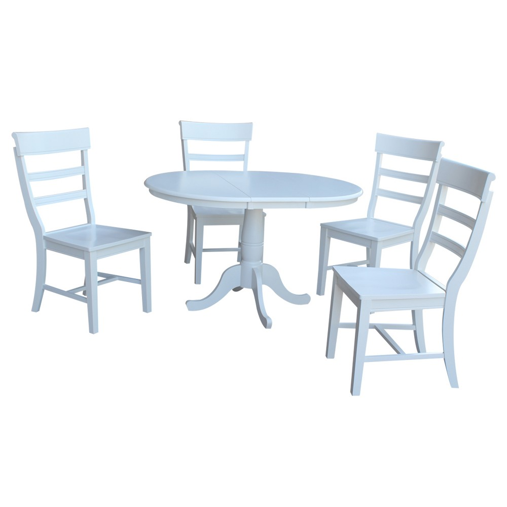36 5pc Alex Round Extension Dining Table with 4 Hammerty Chairs Set White - International Concepts