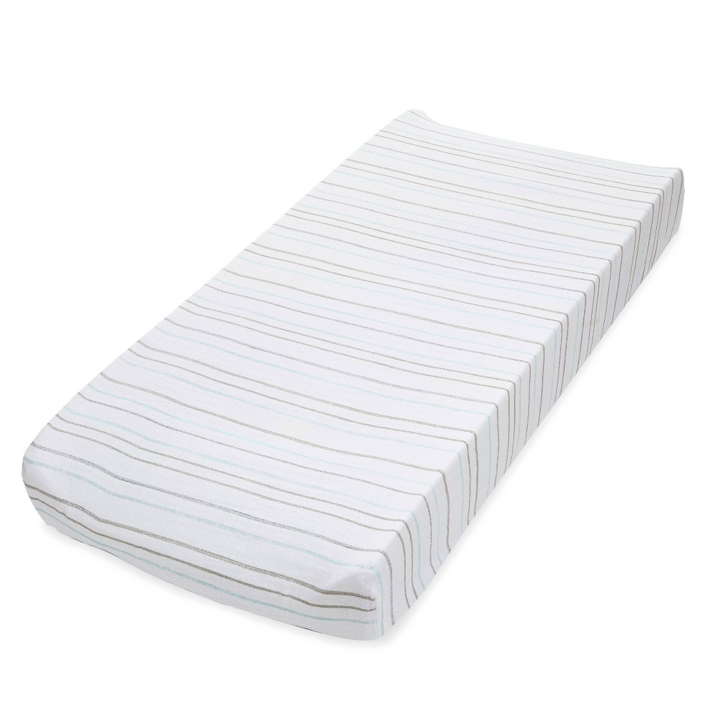 Image of Aden + Anais Essentials Classic Changing Pad Cover Partly Sunny Stripe