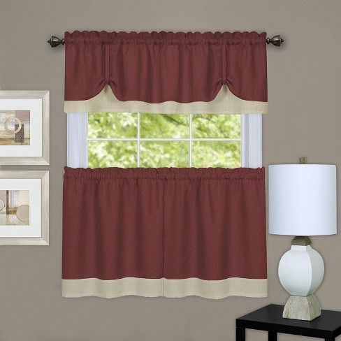 GoodGram Darcy Semi Sheer Tie-Up Kitchen Curtain Tier & Valance Set - image 1 of 1