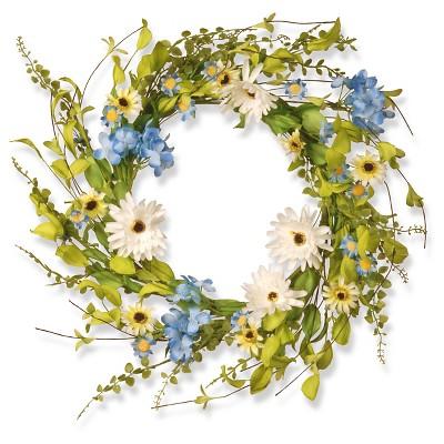 "Floral Wreath Hydrangea Gerber Flowers - White/Blue (20"")"