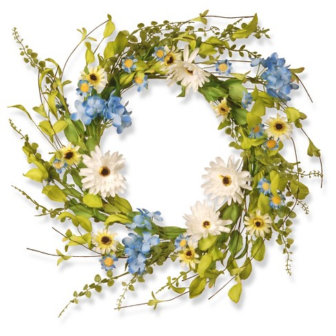 "Floral Wreath Hydrangea Gerber Flowers - White/Blue (20"") - image 1 of 1"
