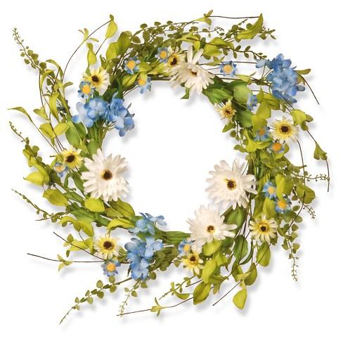 Floral Wreath Hydrangea Gerber Flowers Whiteblue 20 Target