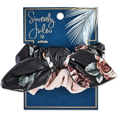 Sincerely Jules by Scünci Faux Leather Printed And Velvet Scrunchies - 2pk