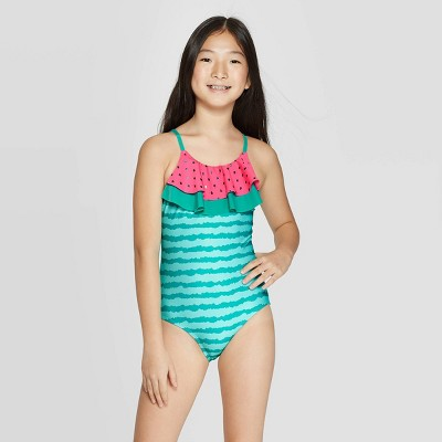 Girls' Ruffle Watermelon One Piece Swimsuit - Cat & Jack™ Green M