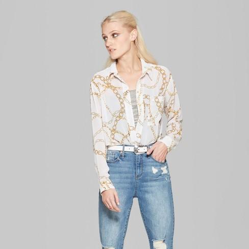 20754ce141df93 Women's Long Sleeve Button-Down Chain Print Shirt - Wild Fable™ White