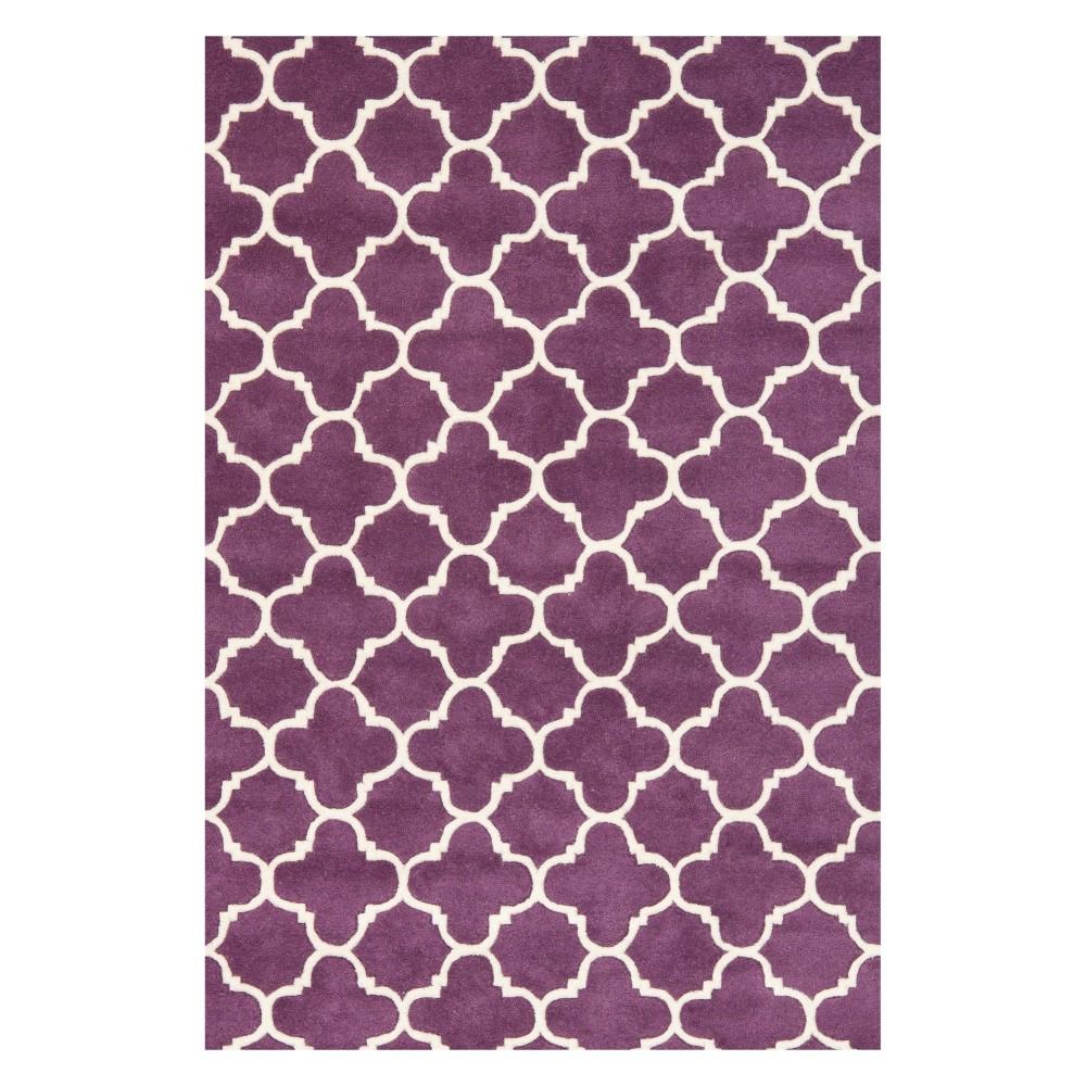 4'X6' Quatrefoil Design Tufted Area Rug Purple/Ivory - Safavieh