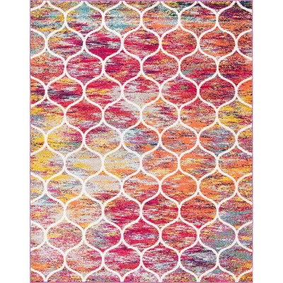 Rounded Trellis Frieze Rug Red - Unique Loom