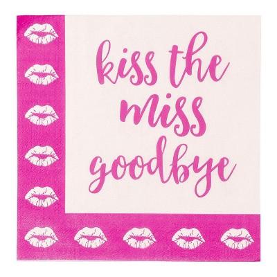"Blue Panda 150-Pack Disposable Paper Napkins Kiss the Miss for Bachelorette Party Supplies 6.5""x6.5"""