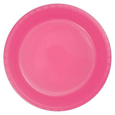 "Candy Pink Plastic 7"" Dessert Plates - 20ct"