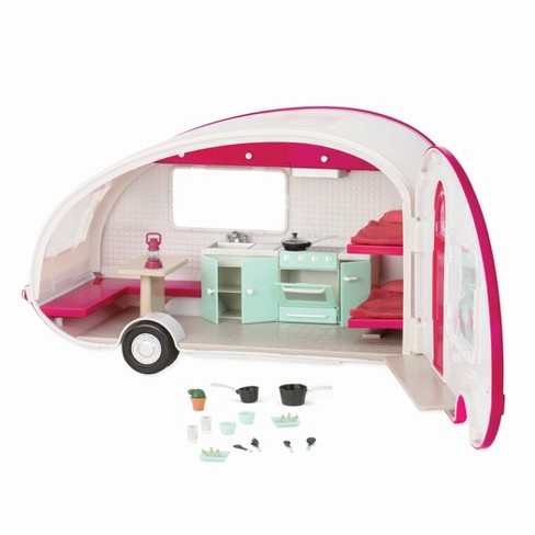 Lori Dolls Roller Glamper - Pink & White RV Camper for 6-inch Mini Dolls - image 1 of 4