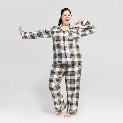 Women's Plus Size Holiday Tartan Plaid Flannel Pajama Set - Wondershop™ White