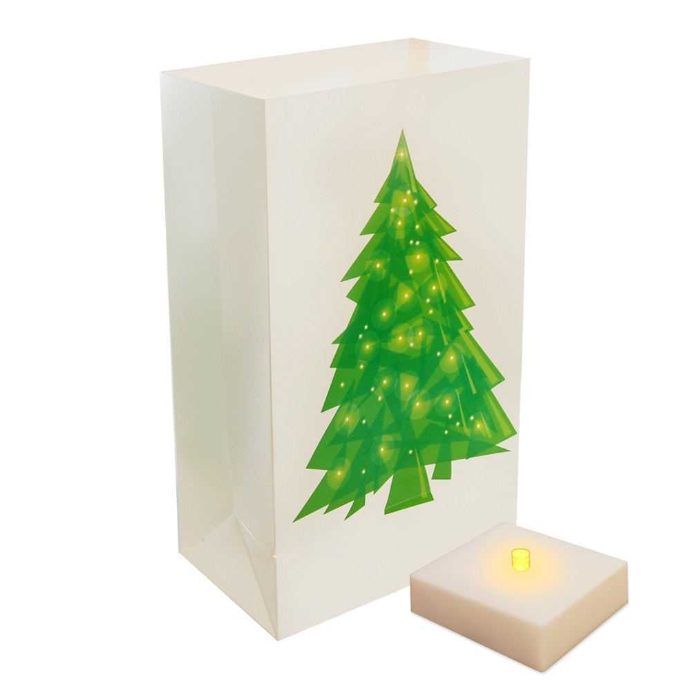 6ct Battery Operated Led Luminaria Kit With Timer Holiday Tree Green/White - LumaBase, Multi-Colored