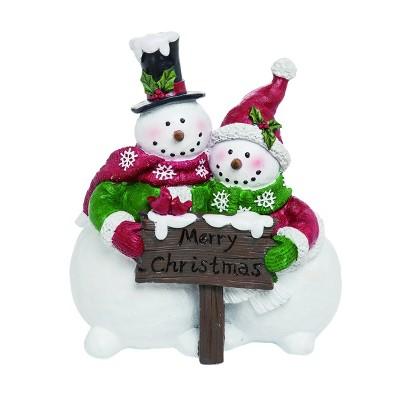 Transpac Resin 9 in. White Christmas Merry Snowmen