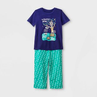 Toddler Boys Sleepy Animals Pajama Set - Cat & Jack™ Blue 3T