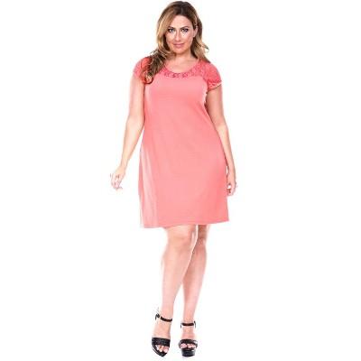 Women's Plus Size Short Sleeve Lace Trim Pelagia Dress - White Mark