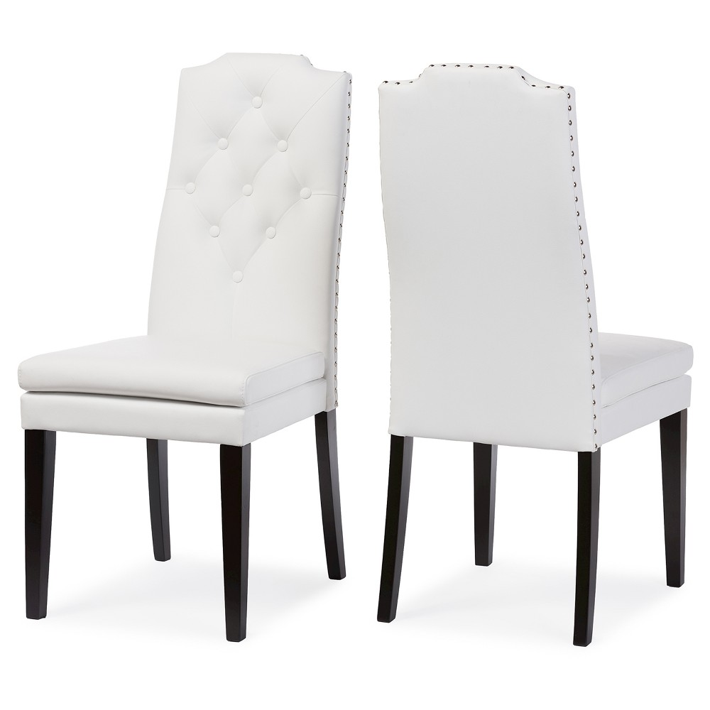 Dylin Modern & Contemporary White Faux Leather Button -Tufted Nail heads Trim Dining Chairs (Set of 2) - Baxton Studio