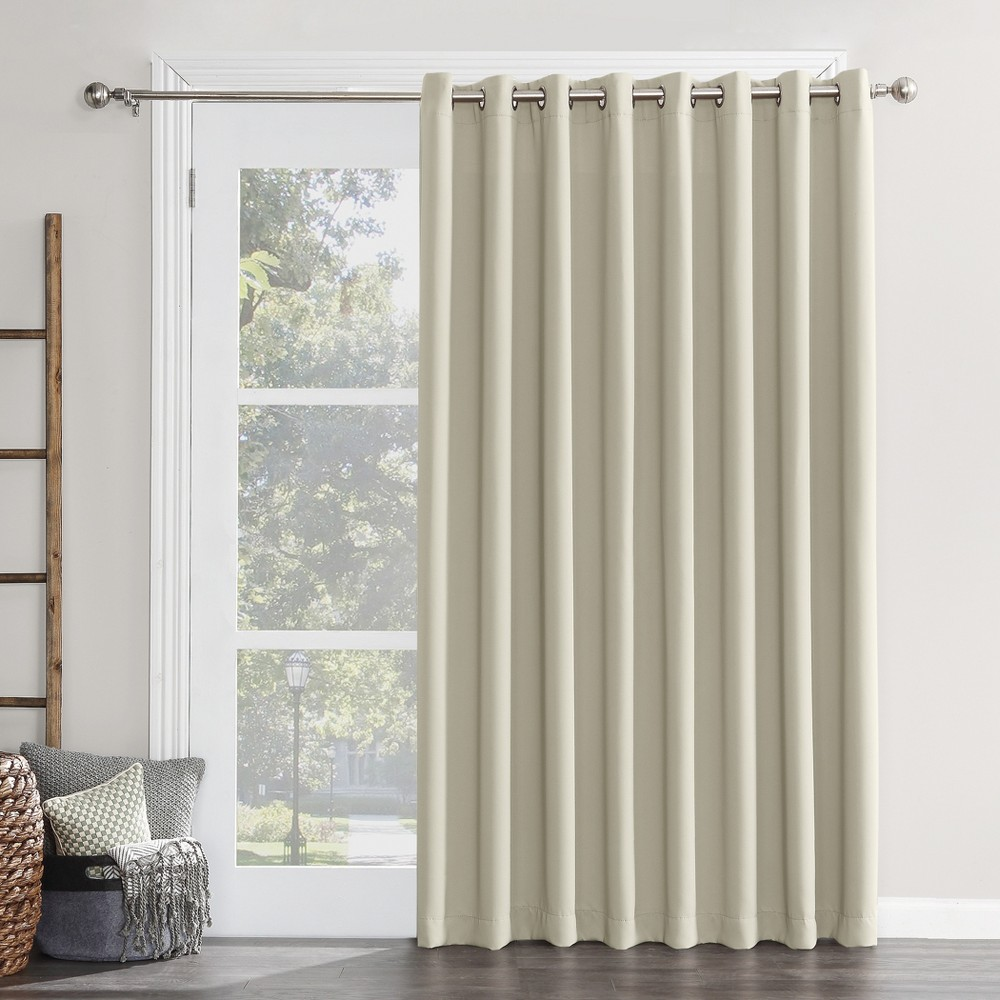 "Image of ""100""""x84"""" Kenneth Easton Extra Wide Blackout Sliding Patio Door Curtain Panel Pearl - Sun Zero, White"""