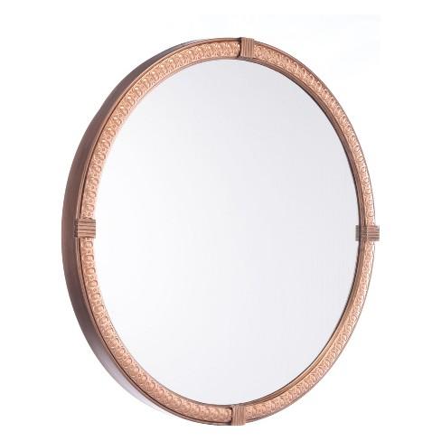 """ZM Home 24"""" Vintage Modern Round Mirror Brown - image 1 of 3"""