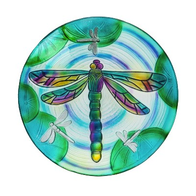 """18"""" Hand Painted Embossed Glass Bird Bath, Fluttering Dragonfly Pond"""