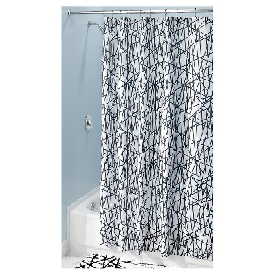 Striped Shower Curtain Black/White - iDESIGN