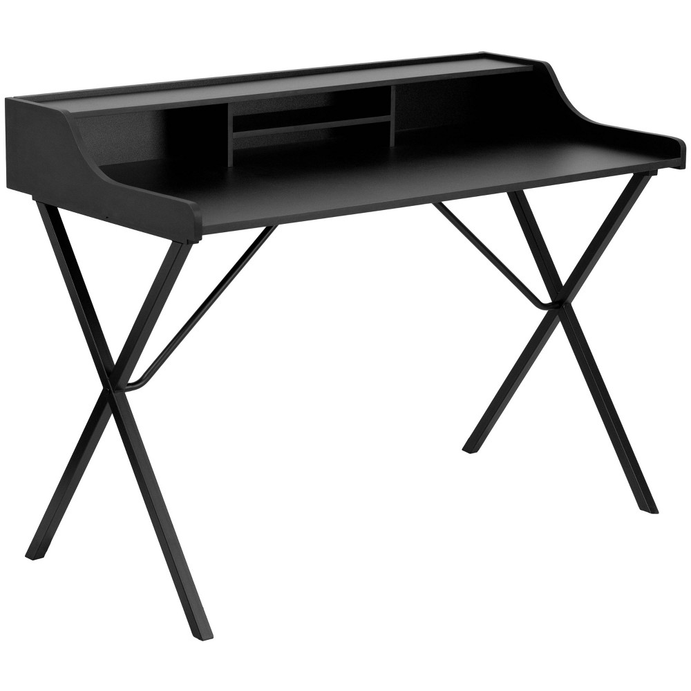 Image of Computer Desk with Top Shelf Black - Flash Furniture