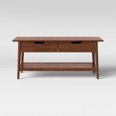 Ellwood Wood Coffee Table with Drawers Brown - Project 62™