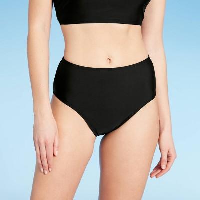 Women's Longline Medium Coverage High Waist Bikini Bottom - Kona Sol™ Black