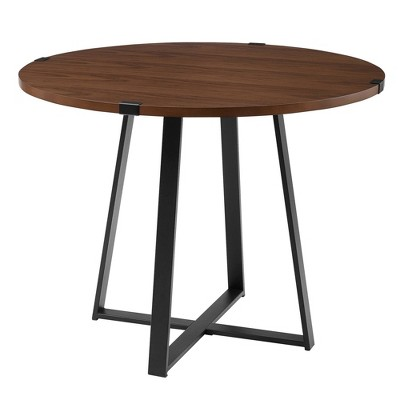 """40"""" Urban Industrial Round Dining Table with Faux Wrap Leg - Saracina Home"""