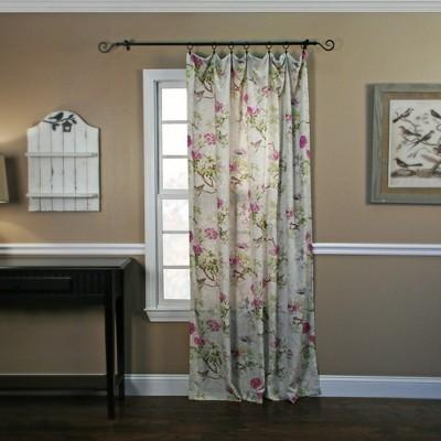 "Ellis Curtain Balmoral High Quality Fabric Perfect Decorative Floral Print Tailored Panel Rod Pocket Window Curtain - 48"" x63"""
