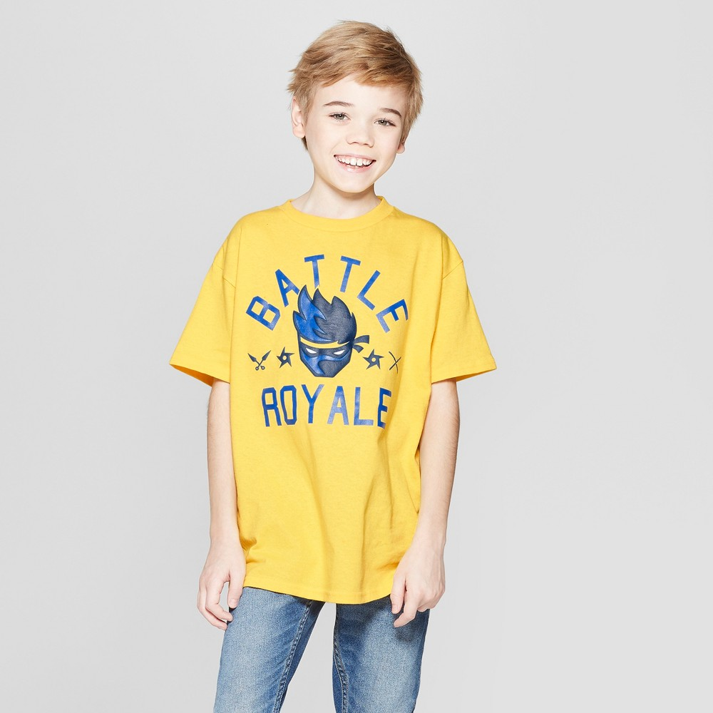 Boys' Ninja Battle Royale Short Sleeve T-Shirt - Yellow XS