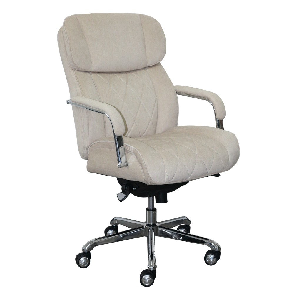 Sutherland Quilted Fabric Office Chair with Padded Arms Cream (Ivory) - La-Z-Boy