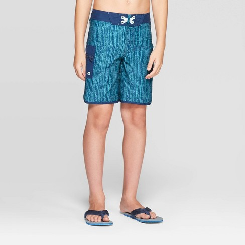 Boys' Static Transmission Swim Trunks - art class™ Teal - image 1 of 3