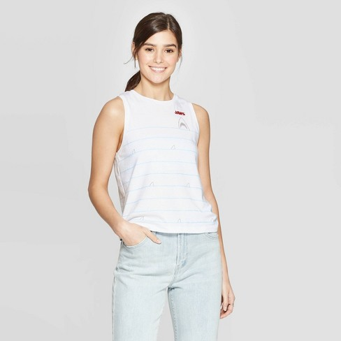 Women's JAWS Sleeveless Embroidery Tank Top (Juniors') - White - image 1 of 2