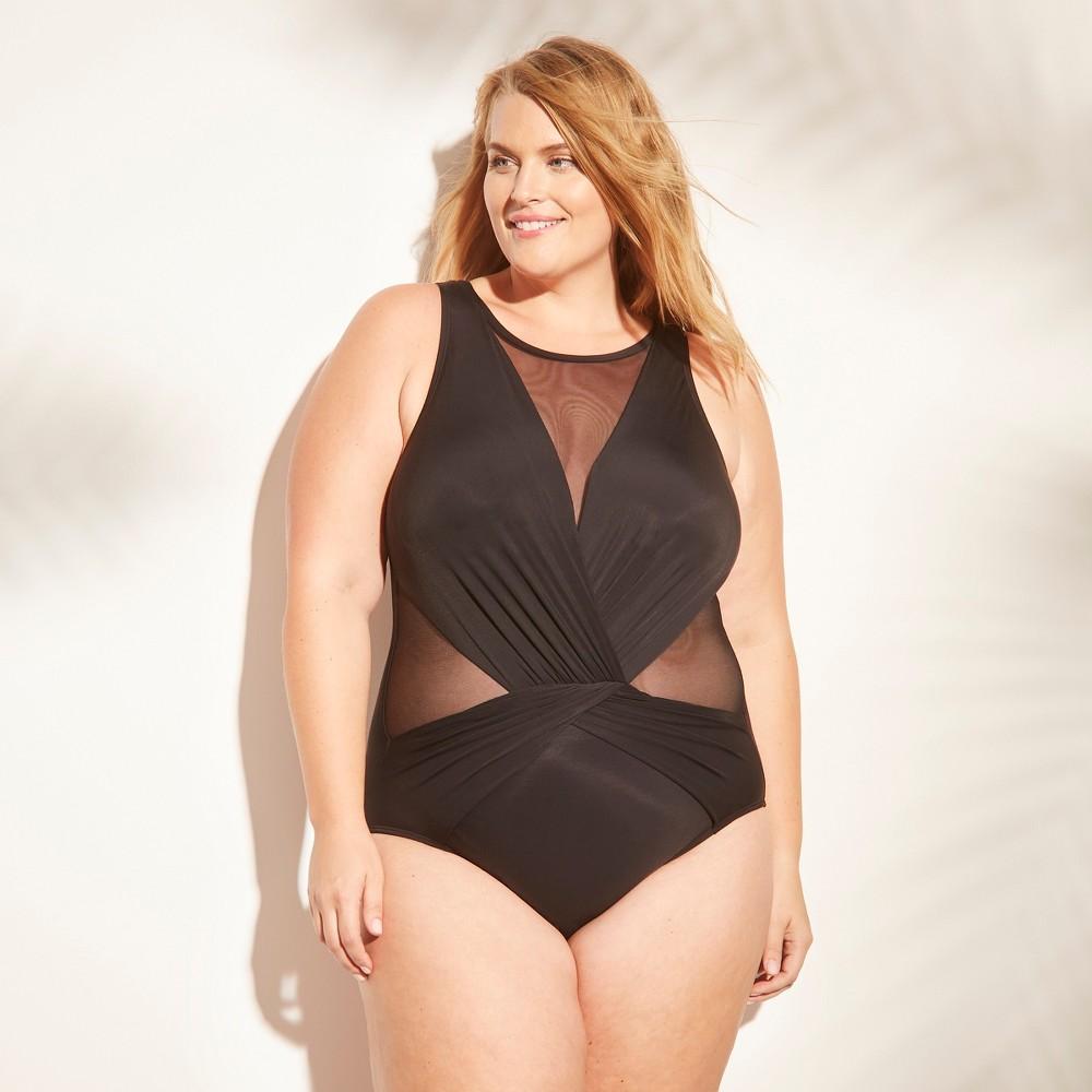 Womens Mesh Inset One Piece Swimsuit Aqua Green Black 22w