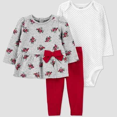 Baby Girls' 3pc Floral Top & Bottom Set - Just One You® made by carter's Red 9M