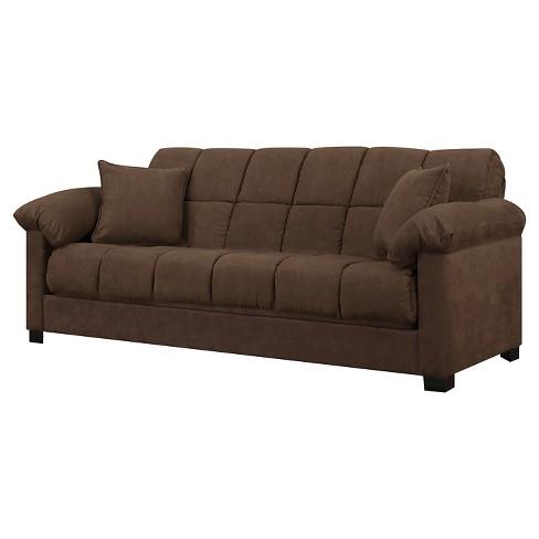 Maurice Pillow Top Arm Convert A Couch Dark Brown Handy Living
