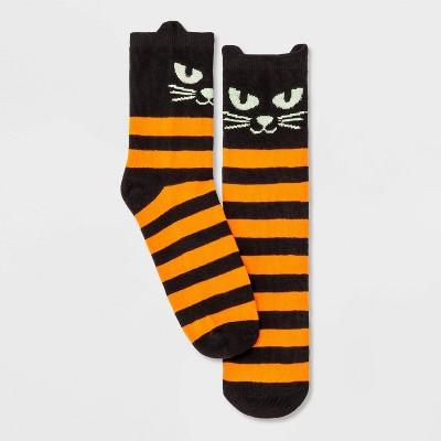 Women's Black Cat with Glow in the Dark Eyes Halloween Crew Socks - Hyde & EEK! Boutique™ Black/Orange 4-10