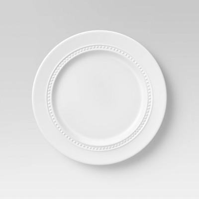 """8.3"""" 4pk Porcelain Beaded Rim Salad Plate White - Threshold™"""