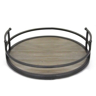 Metal and Wood Tray Brown - Stratton Home Decor