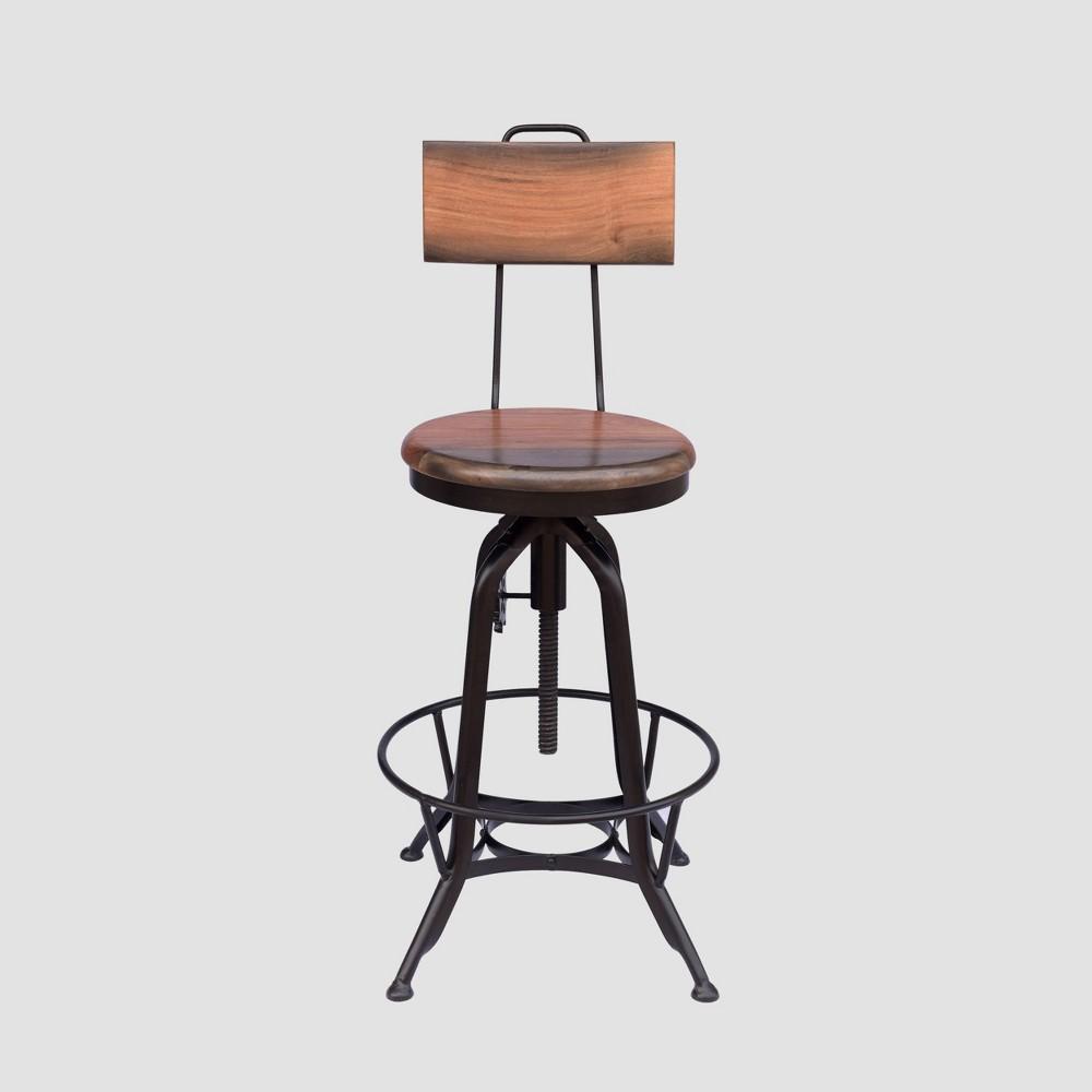 Clarkson Modern Industrial Adjustable Barstool Natural/Black - Christopher Knight Home