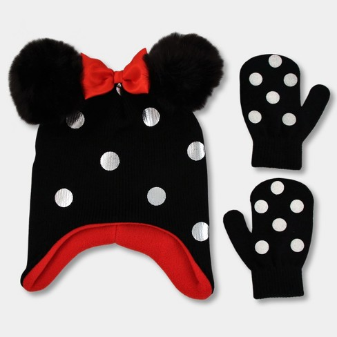 6e22bca23bb0a Toddler Girls  Disney Minnie Mouse Hat and Mitten Set - Black One Size