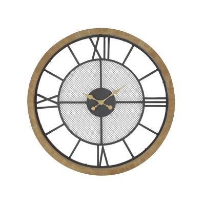 Contemporary Wood and Iron Analog Wall Clock - Olivia & May