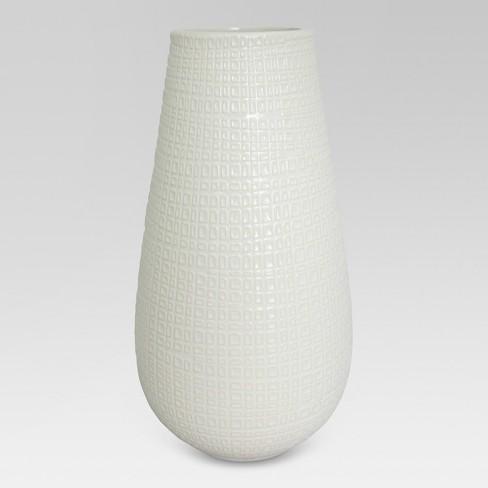 Textured Ceramic Vase White Tall Threshold Target
